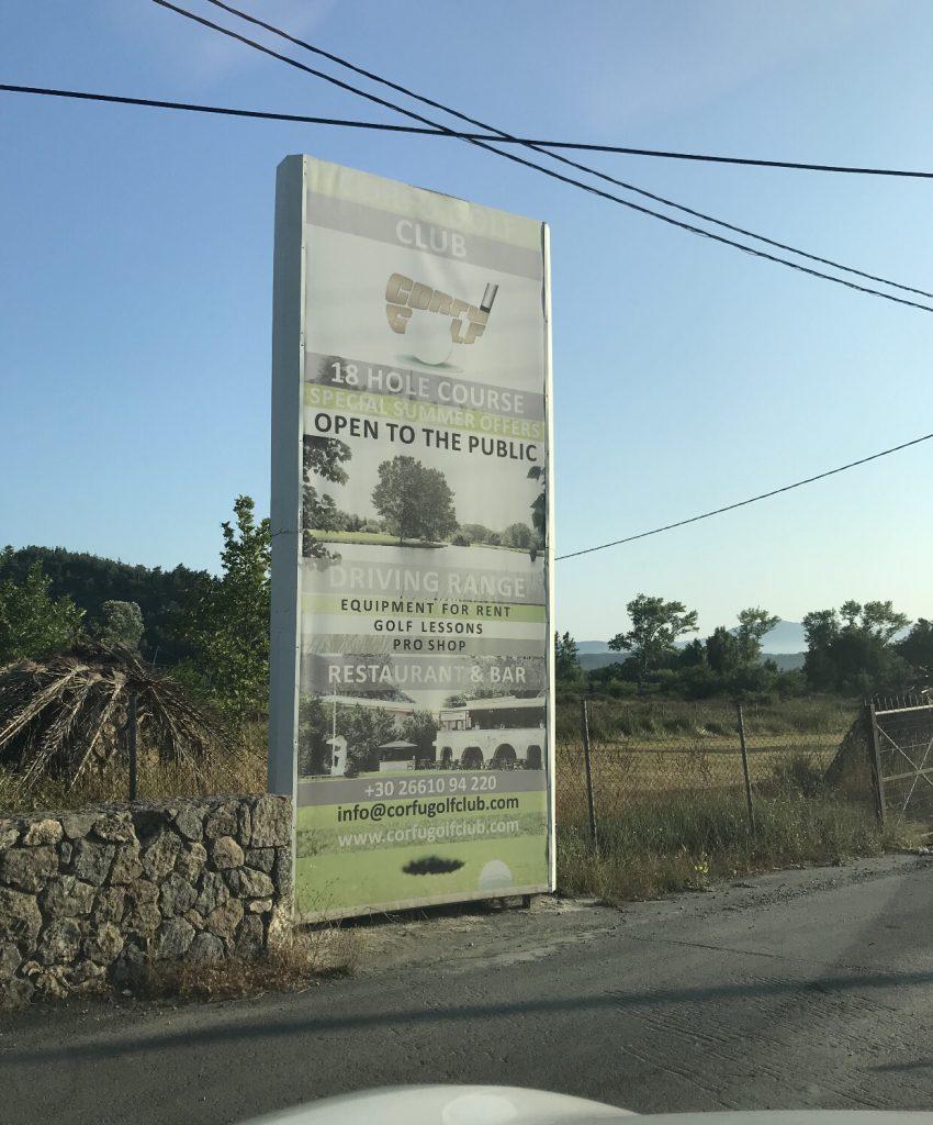 Schild zum Corfu Golf Club